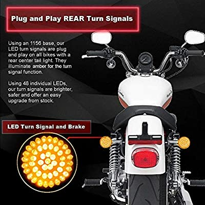 Eagle Lights 2 inch Bullet Style LED Rear Amber Turn Signals (Bikes With Rear Center Tail Light) Rear Turn Signals Harley (96-13 Softail, Sportster, Dyna, Road King and More): Automotive