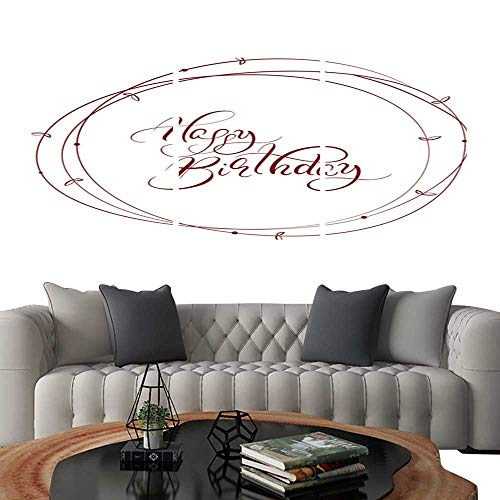 UHOO 3 Piece Wall Art Painting Abstract Brown Round Frame and calligraphic Words Happy Birthday Vector Illustration EPS11. Living Room Kitchen -