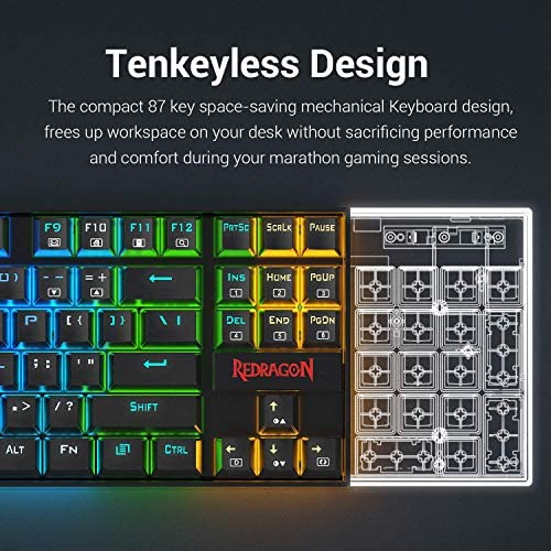 Redragon K552 Mechanical Gaming Keyboard 60% Compact 87 Key Kumara Wired Cherry MX Blue Switches Equivalent for Windows PC Gamers (RGB Backlit Black)