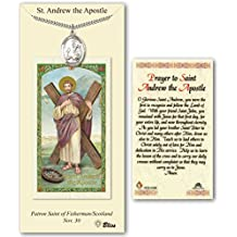 Pewter Saint Andrew the Apostle Medal with Laminated Holy Prayer Card
