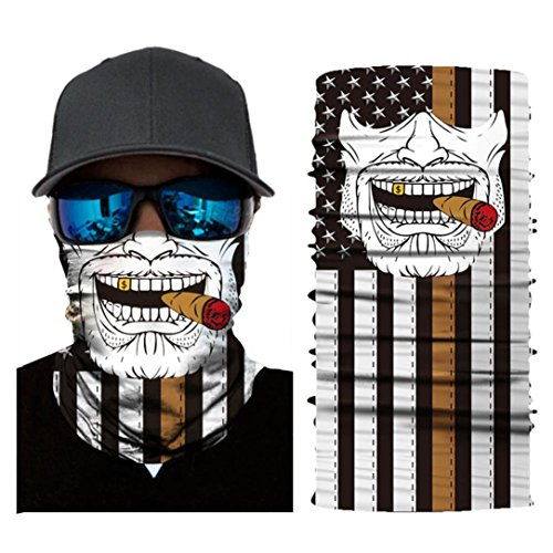 Hot Sale! Hongxin 3D Seamless Multifunction Magic Clown Joker Men Skull Ghost Shield Tube Face Mask Headband Bandana Scarf Headwear Ring Headscarf Creative Gift (A)