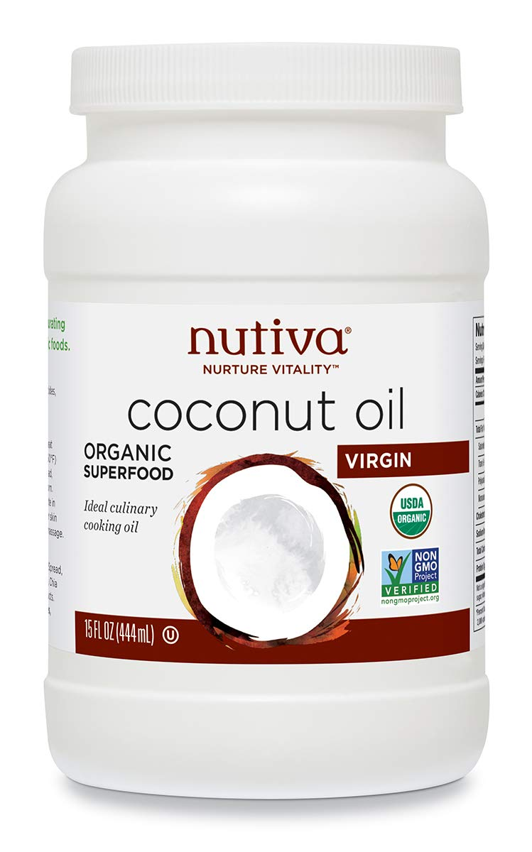 Nutiva Organic, Cold-Pressed, Unrefined, Virgin Coconut Oil from Fresh, non-GMO, Sustainably Farmed Coconuts, 15-ounce