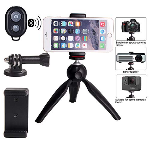 Regetek Phone Tripod Mini Camera Tripod Portable Stand Holder with Wireless Remote, Phone/GoPro Mount, for iPhone/Android, Nikon Canon Sports Camera GoPro Webcam