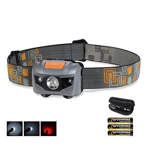 Coomatec Superheller LED Stirnlampe, wasserdichte,leicht & bequem, verfügt über 100 Lumen, dient als Beleuchtung für Laufen / Fischen / Radfahren / Arbeit (grau)