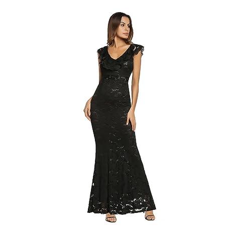 ffdcce0487db1 YAN Vestito da Donna Maxi Abito da Sera Senza Maniche in Pizzo da Donna  Formale