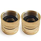 Twinkle Star 2 Pack 3/4' Brass Garden Hose Connector with Dual Swivel for Male Hose to Male Hose, Double Female