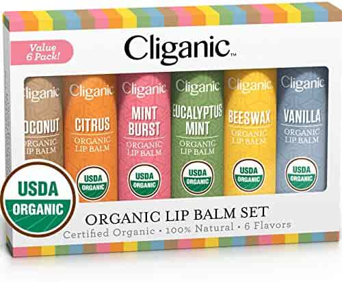 Cliganic USDA Organic Lip Balm Set - 6 Assorted Flavors - 100% Natural Lip Butter Chapstick for Cracked & Dry Lips