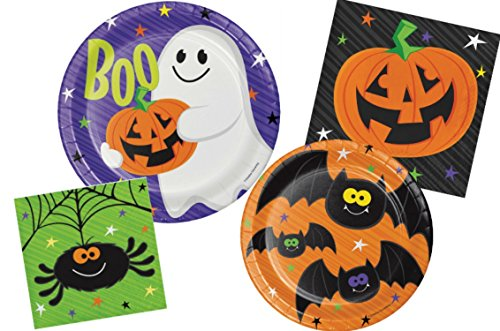 Halloween Party Supply Pack - Happy Haunts Design: Bundle Includes Paper Plates and Napkins for 8 (Family Halloween Party Themes)