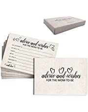 50 Pack Advice and Wishes Cards for The Mom-to-Be - 4''x 6'' Baby Advice Paper Cards Perfect Addition to Your Baby Shower Party Game