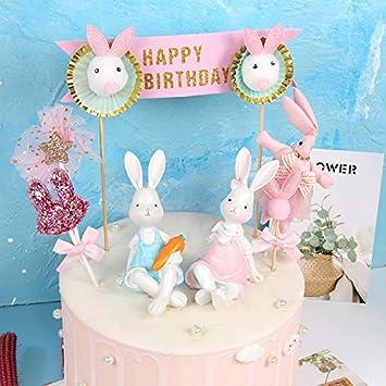 MONLIYA 12 Pieces Cake Decoration Topper Cute RabbitAccessories Dessert Ornament For Birthday Baby Shower Wedding