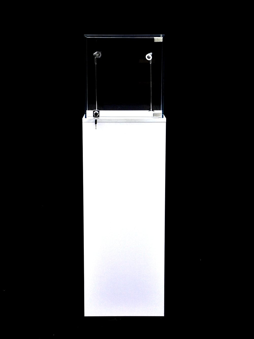 Mutipurpose Pedestal Exhibition Stand Display Case Showcase For Retail, Jewelry Display, Museum, Colletible,, Tempered Glass, White Finished With LED Light (LARGE-W)