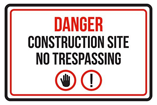 HarrodxBOX Danger Construction Site No Trespassing Business Commercial Warning Large Novelty Aluminum Metal Tin Sign Post Wall Decoration for Men from HarrodxBOX
