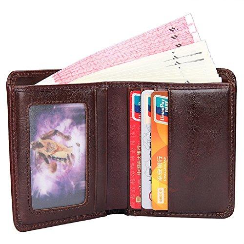 Vertical Men Holder Short Artmi Real Card for Wallet Cow Vertical Purse Bifold Leather Pocket nfx8tPOxwq