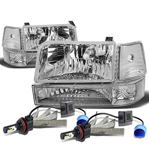 For Ford F-150 Branco 5th Gen 6Pc Chrome Housing Clear Corner Headlight + 9007 LED Conversion (Gen 5 Conversion)