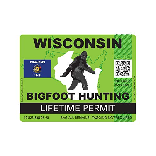 fagraphix Wisconsin Bigfoot Hunting Permit Sticker Die Cut Decal Sasquatch Lifetime FA Vinyl - 4.00 Wide