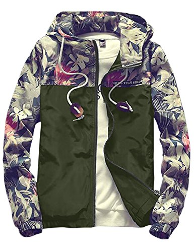 Sandbank Mens Casual Floral Print Lightweight Hooded Jacket Windbreaker Hoodie (US XS = Asian Tag L, Green)