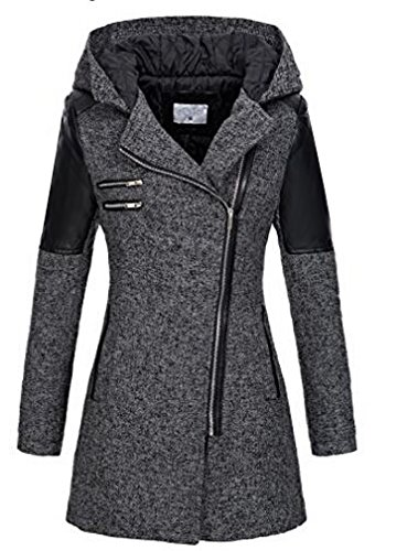 ZEARO Damen Winterantel women Parka coat Trenchcoat Kapuzenjacke Übergangsjacke lang woll Mantel Jacke mit Kapuze