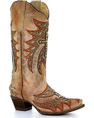 CORRAL Womens Bone Wing and Cross Cowgirl Boot Snip Toe - E1346 White bfjsZ