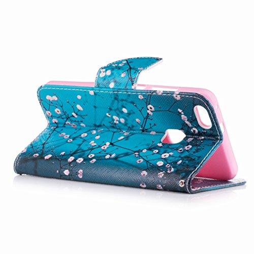Yiizy Huawei P10 Lite Custodia Cover, Fiore Plum Design Sottile Flip Portafoglio PU Pelle Cuoio Copertura Shell Case Slot Schede Cavalletto Stile Libro Bumper Protettivo Borsa