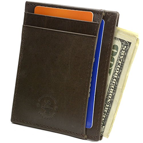 Hammer Anvil RFID Blocking Genuine Leather Front Pocket Wallet Card Case Brown