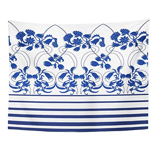 Tarolo Decor Wall Tapestry Blue Pattern Boho Chic Border Stripes and Damask for Dress Artsy Small 80 x 60 Inches Wall Hanging Picnic for Bedroom Living Room Dorm