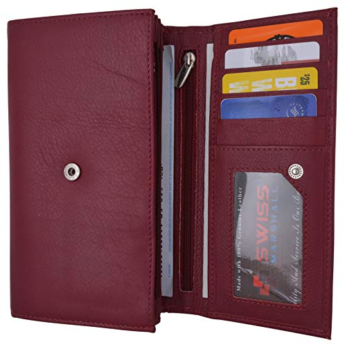 SWISS MARSHALL Women RFID Blocking Real Leather Wallet - Clutch Checkbook Wallet for Women (Burgundy)