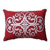 Pillow Perfect Silver Geometric Burlap Rectangular Throw Pillow, Red