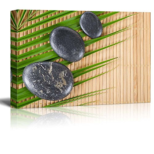 Bamboo Picture Palm (wall26 - Rocks on a Palm Leaf Over a Bamboo Mat - Canvas Art Home Decor - 16x24 inches)