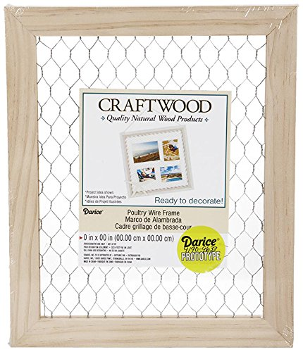 Darice Chicken Wire Frame (1pc) - Unfinished Wood Frame Ready to Decorate and Embellish - Add Photos, Banners, Jewelry, Prints and More - Easy to Hang - Measures 9.5