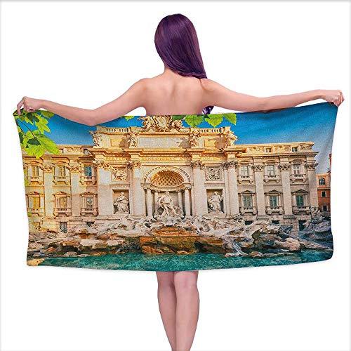 Andasrew Bath Towels Italy,Fountain Di Trevi Famous Travel Destination Tourist Attraction European Landmark, Multicolor,W20 xL39 for Youth Girls Cotton ()