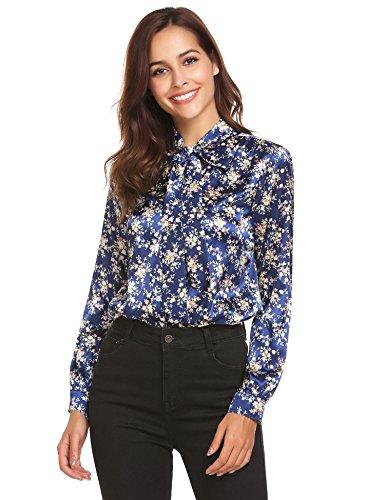 Blue Pattern Shirt (Pinspark Women's Fashion Collar Long Sleeve Print Casual Button Down Blouse Shirt (L, Navy-Satin))