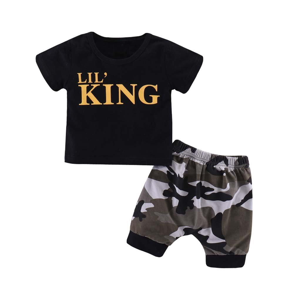 Baorong Summer 2 Piece Sets Baby Boy Short Sleeve T-Shirt Camouflage Pants Casual Clothes Outfits M