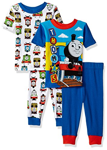 Thomas & Friends Baby Thomas The Train Boys 4-Piece Cotton Pajama Set, Track Blue, 12M