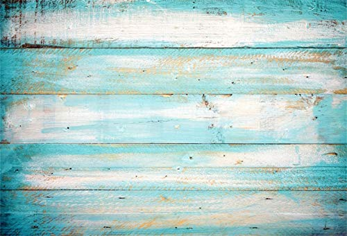 Laeacco Polyester 5x3ft Grunge Faded Turquoise Lateral-Cut Wood Plank Photography Background Rustic Mottled Wooden Board Backdrop Children Adult Pets Artistic Portrait Shoot Studio Props