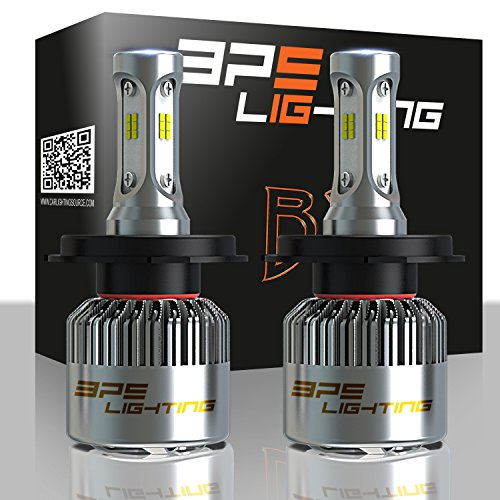 FREE PAIR T10/194 BPS Lighting B2 LED Headlight Bulbs Conv0K 6500K - Cool White - Super Bright - Car and Truck High and Low Beam - All-in One - Plug and Play Kit - H4-9003-HB2 80W 12000 Lumen 6000K