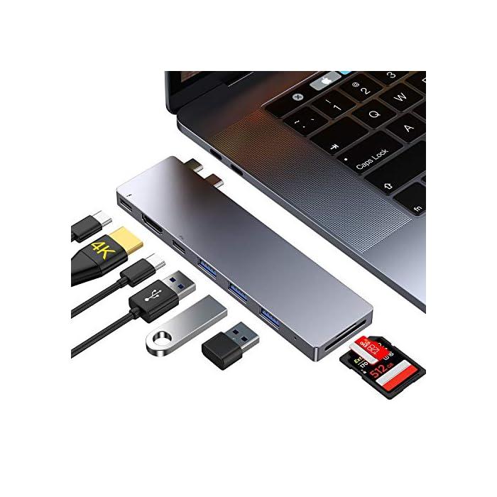 Haz clic aquí para comprobar si este producto es compatible con tu modelo 【Especialmente para MacBook Pro】: USB C Hub con puertos DUAL tipo C, Compatible con MacBook Pro 2019/2018/2017, 13 pulgadas y 15 pulgadas, Macbook Air 2018/2019; El adaptador C USB con Thunderbolt 3 le permite simultáneamente la carga y transferencia de datos para MacBook Pro. 【4K HDMI & Thunderbolt 3】: Admite la conexión simultánea de dos pantallas y puede mostrar dos pantallas diferentes. Con la salida 4K HDMI, puede reflejar o ampliar la pantalla de su MacBook en su televisor, monitor o proyector. El puerto superior es Thunderbolt 3, Transferencia de datos y video soporta máx 40Gb / s, 87W de potencia PD y 5K UTRHD.