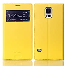 Galaxy S5 Phone case,Eastcoo Premium PU Leather Smart View Window Flip Ultra Slim Wallet Case Folio Cover with Card Holder Stand For Samsung Galaxy S5 (Yellow)