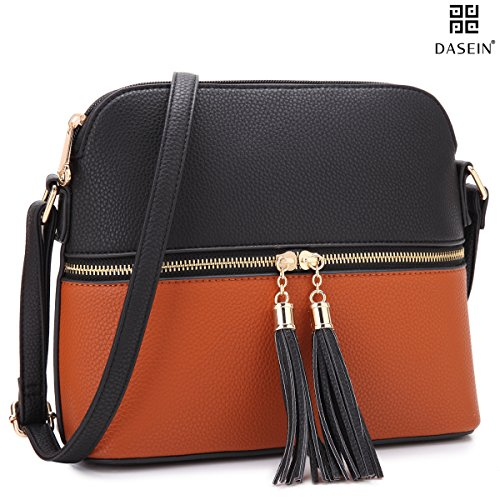 DASEIN Lightweight Medium Crossbody Bag Handbag with Tassel