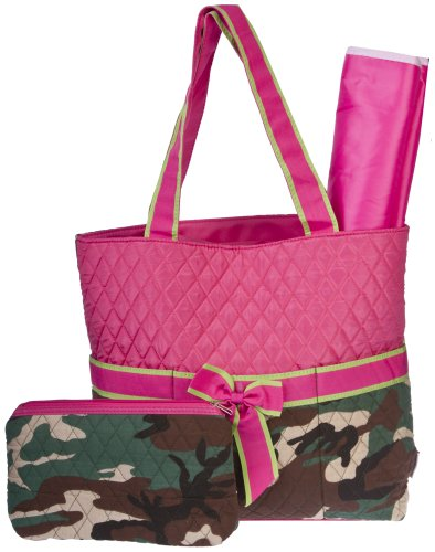 Ever Moda Camo Quilted Diaper Bag with Changing Pad 3 Piece - Pink Green