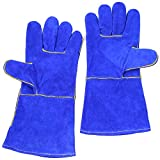 Welding Gloves Lined Leather, Blue - 14