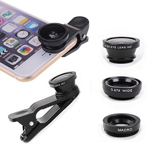 Cell Phone 3-1 Camera Lenses for iPhone, Samsung, Android, HTC, Smart Phone, Tablets, iPad, Laptops, (Colors Vary)
