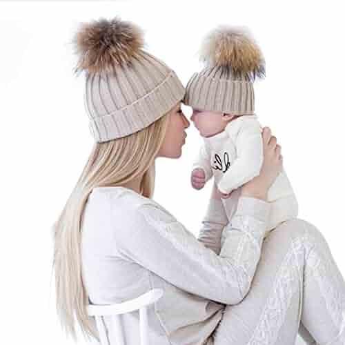 2PCS Parent-child Hat Warmer ,Oenbopo Mother & Baby Daughter/Son Winter Warm Knit Hat Family Crochet Beanie Ski Cap