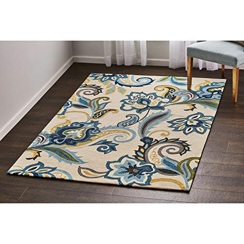VCNY Home Redwood Area Rug, 5x7, Blue (Weave Flower Rug)