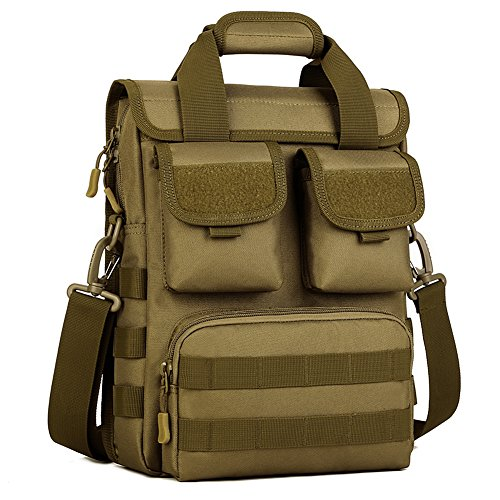 Huntvp Tactical MOLLE Handbag Sling Shoulder Bag Hiking Fanny Commuter Satchel Backpack Assault Pack Gear Deployment Compact Utility Carry Bag Heavy Duty with Shoulder Strap (Brown)