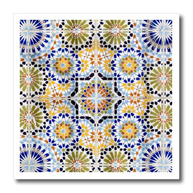 enegal, Saint-Louis or Ndar. Moroccan Tiles Used In The Grande Mosque - Iron on Heat Transfer, 8 by 8