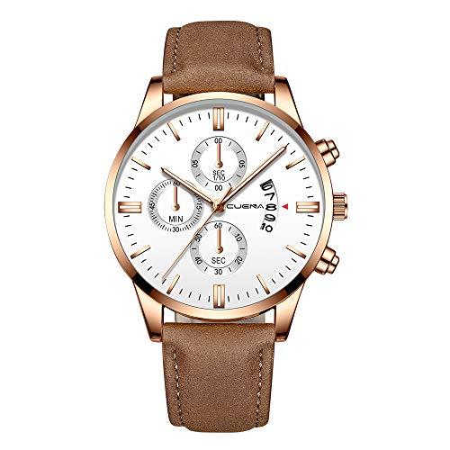 Watch for Men TADAMI Luxury Sports Waterproof Stainless Steel Case Military Analog Leather Band Quartz Minimalist Wristwatch Wristband (I)