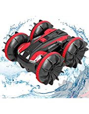 Remote Control Car Boat Truck- 2020 New Edition 1:18 4WD 2.4Ghz Amphibious Rotating Tumbling 360° RC Off Road Stunt Car for Kids 3 4 5 6 7 8 Years Old