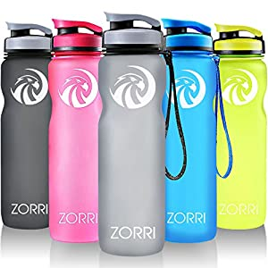 ZORRI Best Sport Water Bottle-600ml & 1000ml-Eco Friendly & BPA-Free Plastic-For Running,Gym,Yoga,Outdoors and Camping-Wide Mouth-Fast Water Flow-Opens With 1-Click-Reusable with Leak-proof Lid Gift