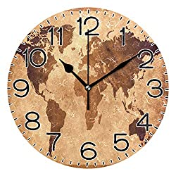 Old World Map Wall Clock Battery Operated Non Ticking Silent Quartz Analog Rustic Farmhouse Round Clock Retro Decor for Home Kitchen Living Room Bathroom