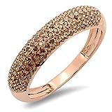 0.50 Carat (ctw) 14k Rose Gold Round Red Diamond Ladies Anniversary Wedding Band 1/2 CT